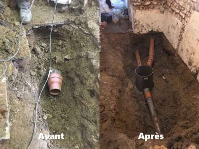 remplacement canalisation avant après
